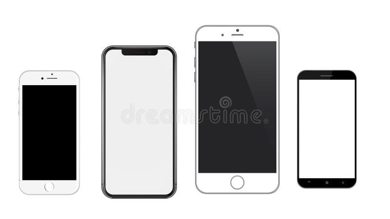 Maqueta realista Iphone de los teléfonos móviles del vector y androide stock de ilustración