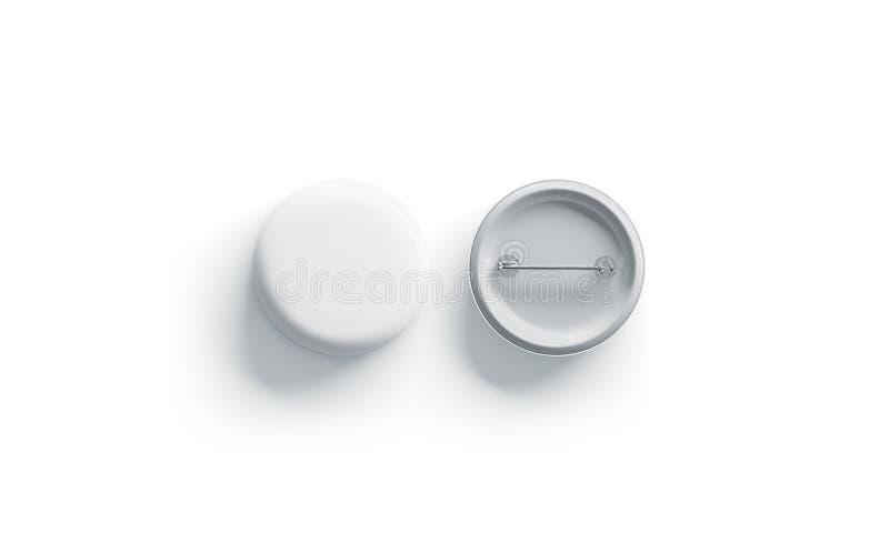 Maqueta redonda blanca en blanco de la insignia, visión superior, aislada stock de ilustración