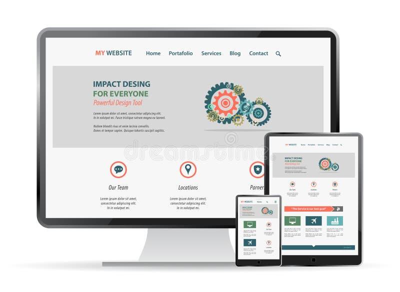 Maqueta responsiva del diseño web stock de ilustración