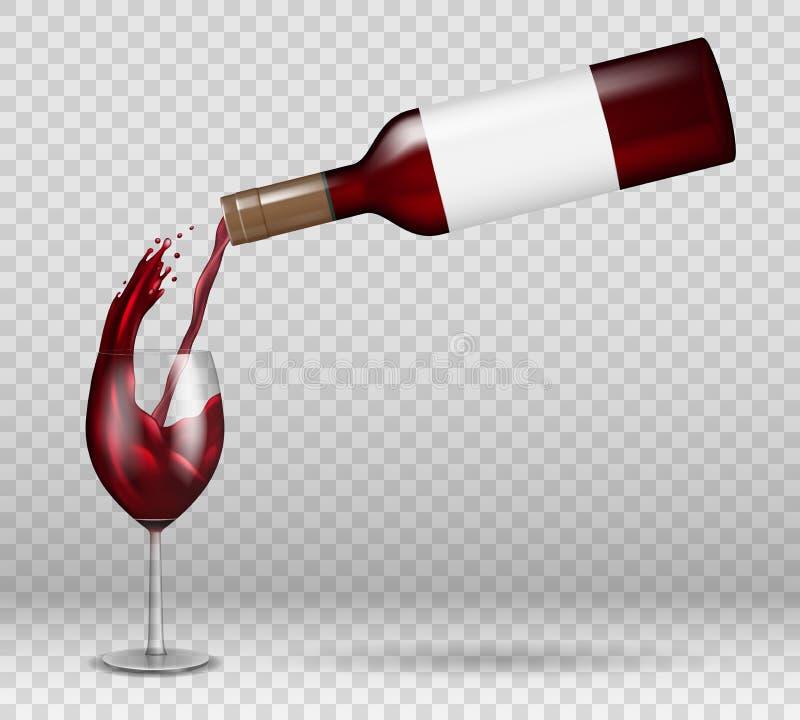 Maqueta transparente de la botella y de la copa de vino con la reflexión líquido del vino tinto que vierte abajo con el chapoteo  stock de ilustración