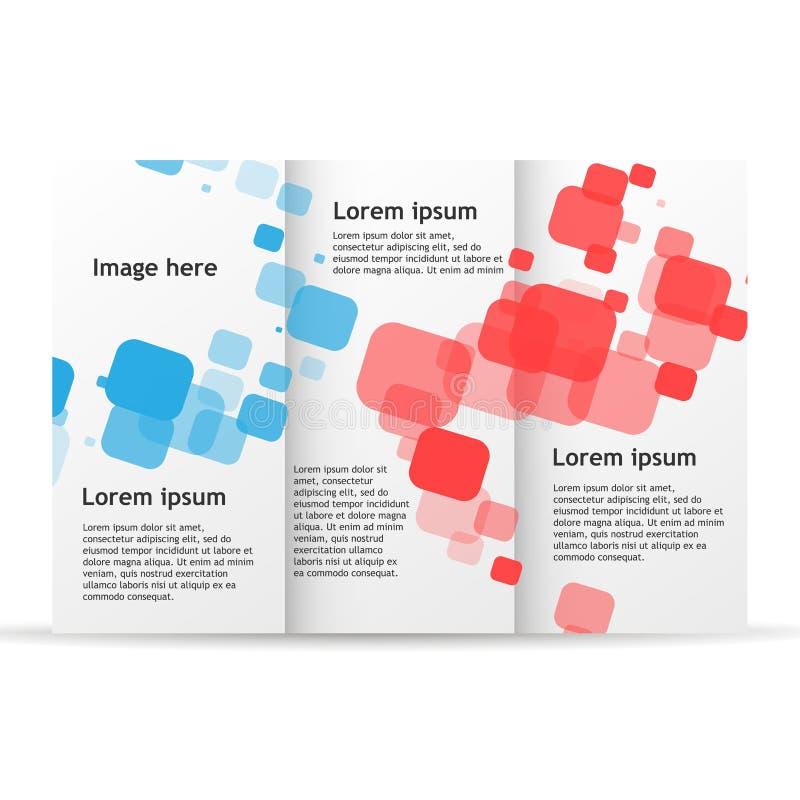 Maqueta triple del diseño del aviador de la plantilla del folleto Disposición del negocio de la publicación del documento en blan ilustración del vector