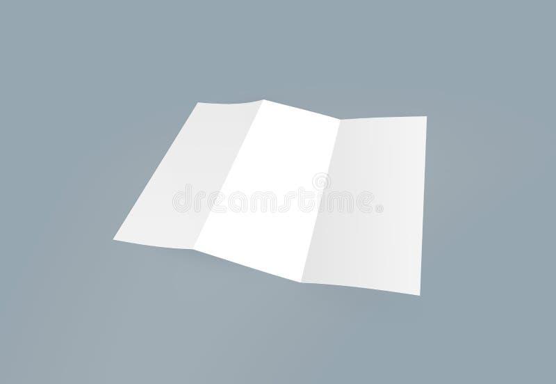 Maqueta triple del folleto Documento blanco de la plantilla del folleto en blanco sobre fondo Folleto de papel de tres dobleces libre illustration