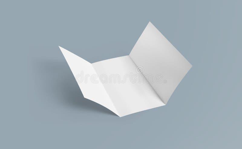 Maqueta triple del folleto Documento blanco de la plantilla del folleto en blanco sobre fondo Folleto de papel de tres dobleces imágenes de archivo libres de regalías