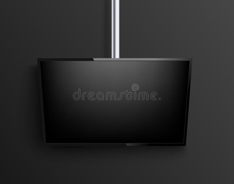 Maqueta TV realista en fondo negro Vector stock de ilustración