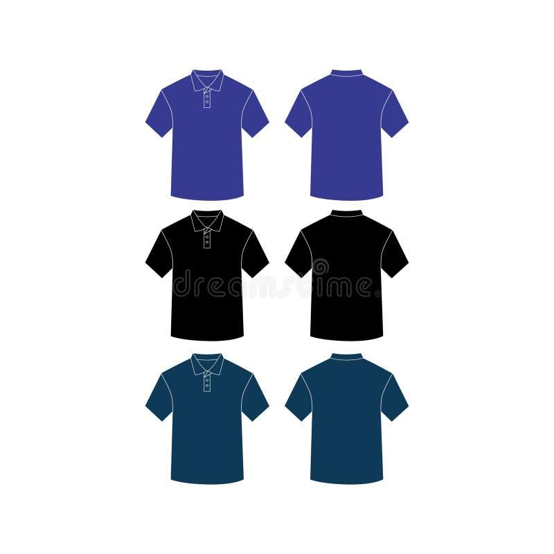 Maqueta una camisa llana del cortocircuito-cuello ilustración del vector