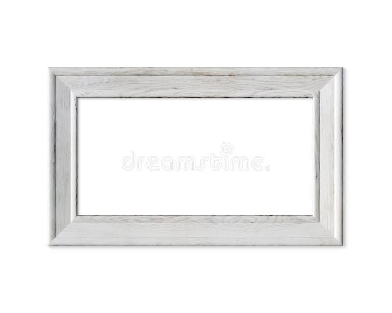 maqueta vieja del marco de madera del retrato vertical 4x5 Realisitc pintó la muestra de madera blanca Estera de capítulo con las libre illustration