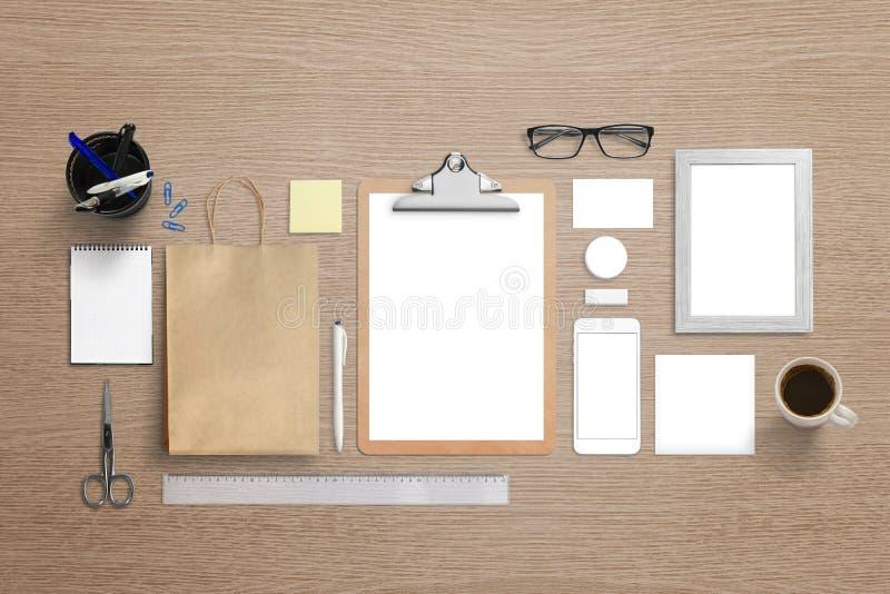 Maqueta visual de marcado en caliente de la identidad Vista superior de los efectos de escritorio para el logotipo foto de archivo libre de regalías