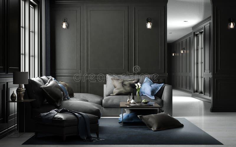 Maqueta viva interior del estudio, estilo clásico negro, renderin 3D libre illustration