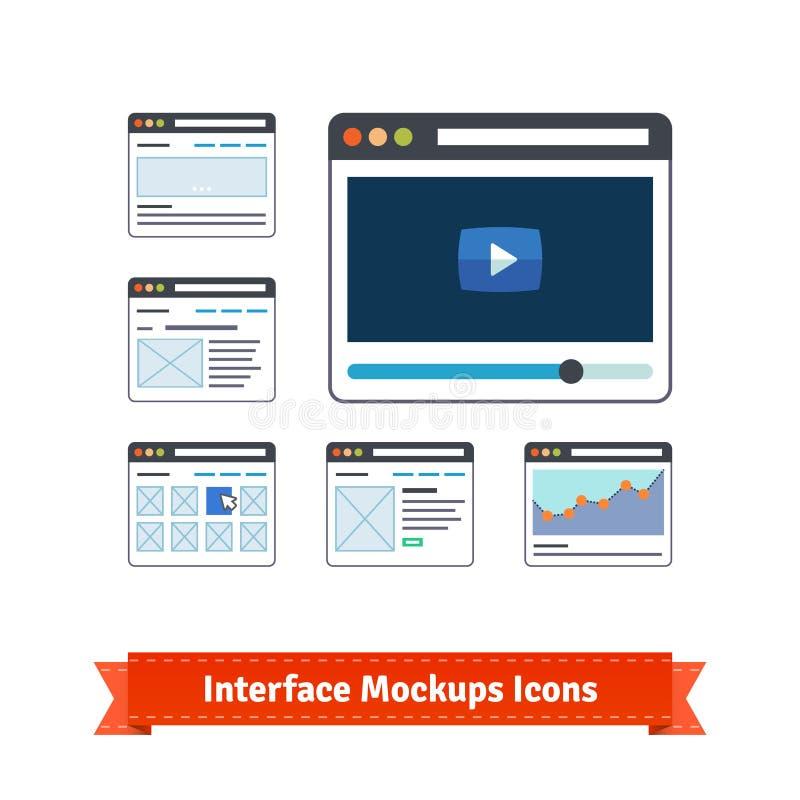 Maquetas de la creación de un prototipo del interfaz del sitio web, wireframes libre illustration
