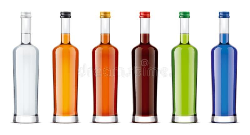 Maquetas de las botellas para las bebidas del alcohol stock de ilustración
