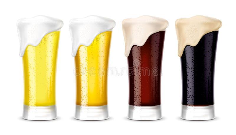 Maquetas de los vidrios de cerveza versión fotos de archivo libres de regalías