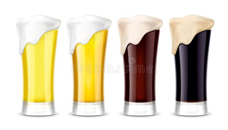 Maquetas de los vidrios de cerveza versión foto de archivo