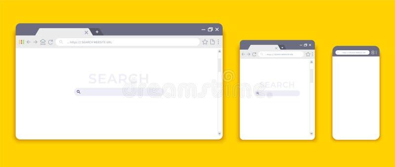 Maquetas del navegador Interfaz de la p?gina web para diversos dispositivos, la tableta vac?a del ordenador port?til y la p?gina  ilustración del vector