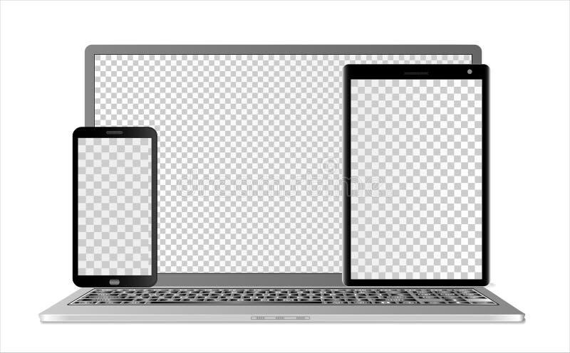 Maquetas del ordenador portátil, de la tableta y del smartphone con las pantallas transparentes en diversas capas, en un fondo bl ilustración del vector