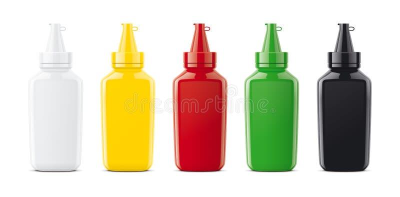 Maquetas plásticas de las botellas para las salsas fotos de archivo