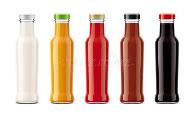 Maquetas plásticas de las botellas para las salsas imágenes de archivo libres de regalías