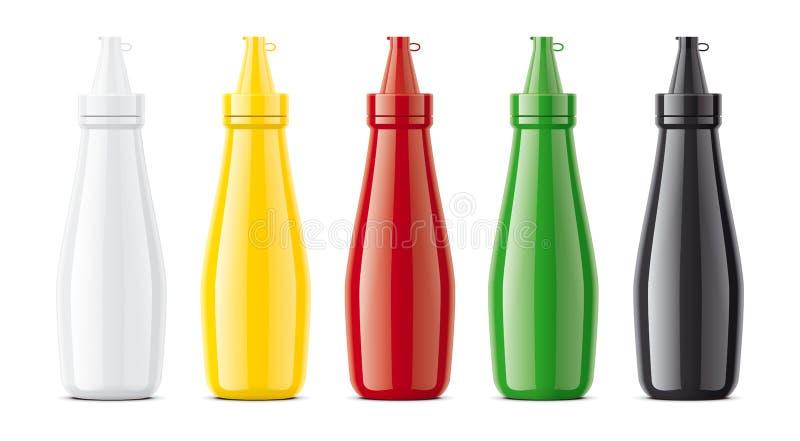 Maquetas plásticas de las botellas para las salsas Versión grande fotos de archivo libres de regalías