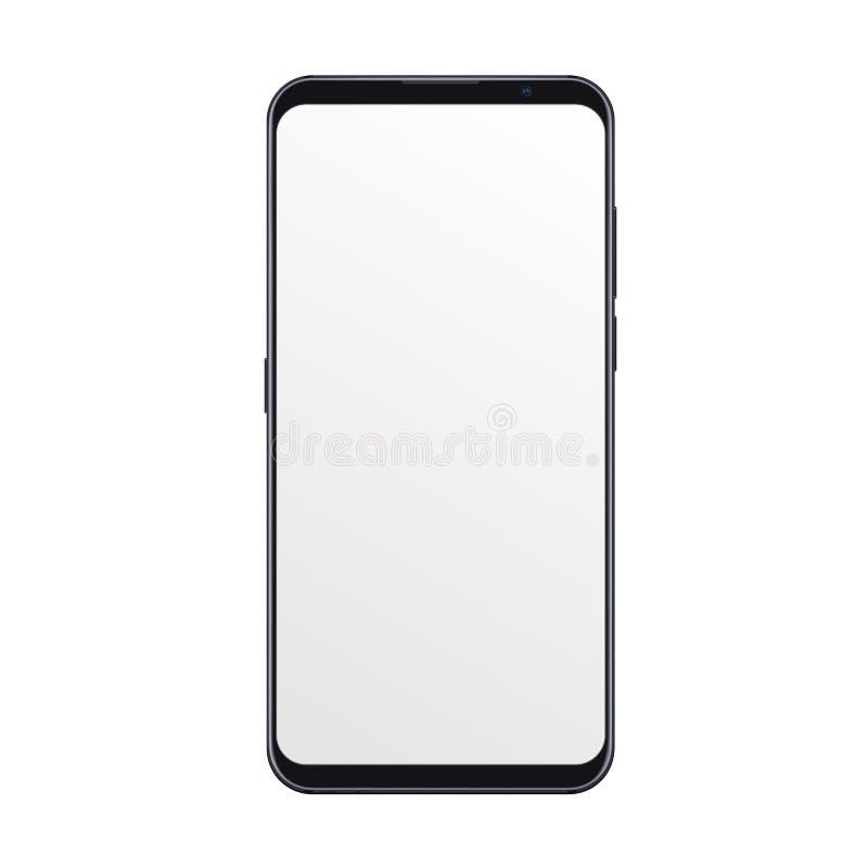 Maquette à la mode réaliste de smartphone avec l'écran noir vide d'isolement sur le fond blanc Pour tout essai d'interface utilis illustration de vecteur