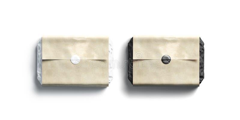 Maquette adhésive noire et blanche de papier d'emballage de métier d'autocollant de blanc photo stock