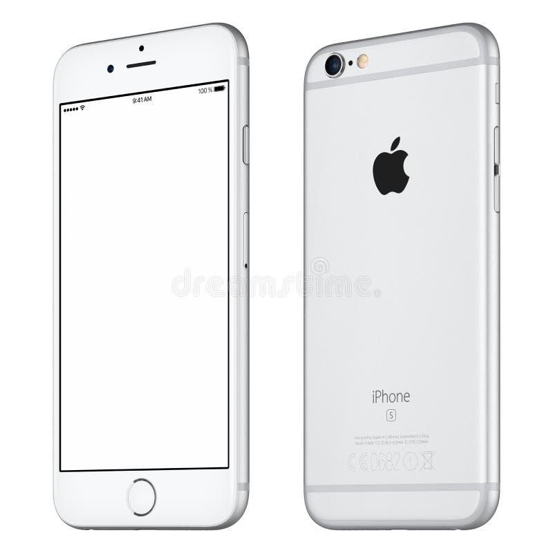 Maquette argentée de l'iPhone 6S d'Apple légèrement dans le sens des aiguilles d'une montre tournée image libre de droits