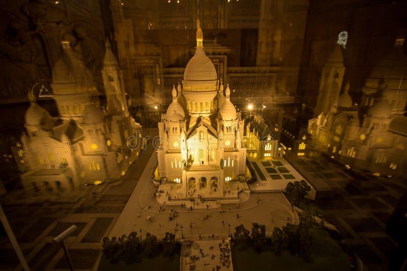 Maquette av basilikan Sacre Coeur, Paris, Frankrike fotografering för bildbyråer