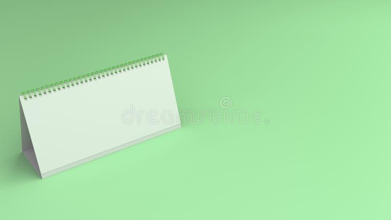 Maquette blanche de calendrier de table sur la surface verte illustration stock