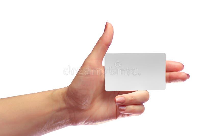 Maquette blanche de carte de blanc de prise de main de LeftFemale Moquerie futée d'Appel-carte d'étiquette de NFC de SIM Cellular image stock