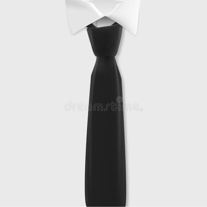 Maquette blanche de chemise de vecteur Chemise réaliste de vecteur avec le calibre de lien noir illustration libre de droits
