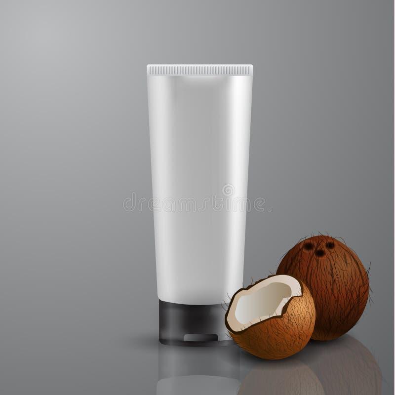 Maquette blanche de tube pour la crème illustration stock