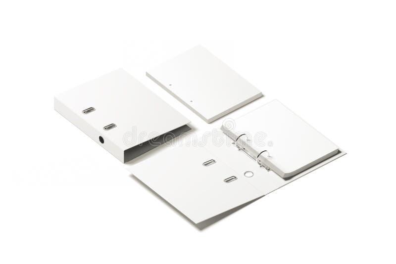 Maquette blanche vide de conception de dossier de reliure à anneaux illustration stock