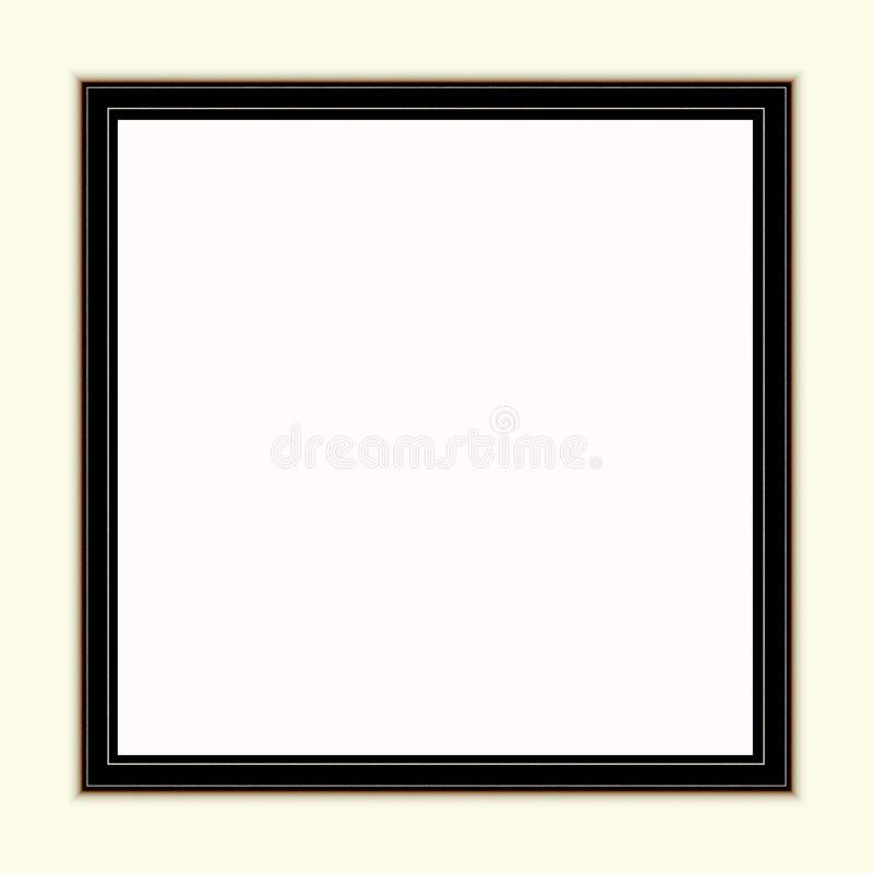 Maquette brune noire de cadre près du mur peint blanc Moquerie vide de cadre pour la conception de présentation Calibre encadrant photo stock