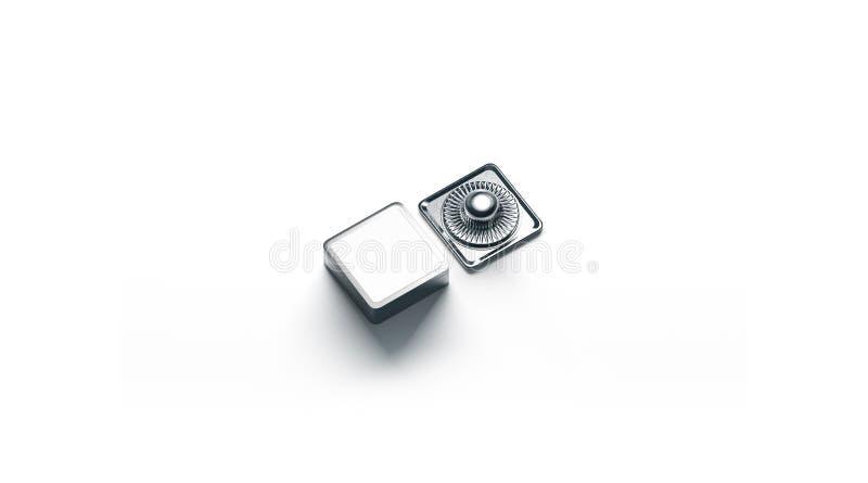 Maquette carrée vide de bouton de rupture en métal blanc d'isolement photo stock
