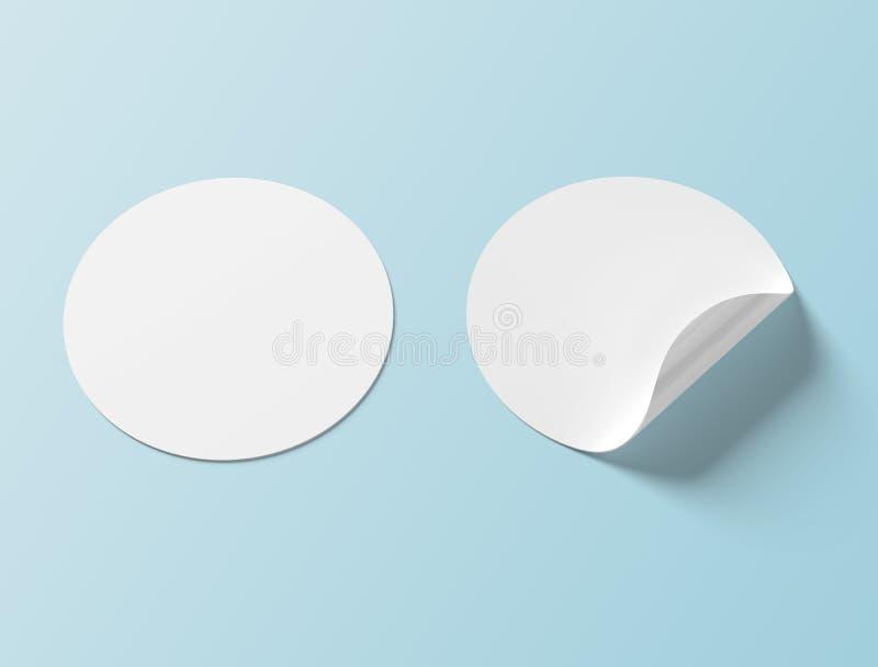 Maquette circulaire d'autocollant d'isolement sur le rendu bleu du fond 3D illustration stock