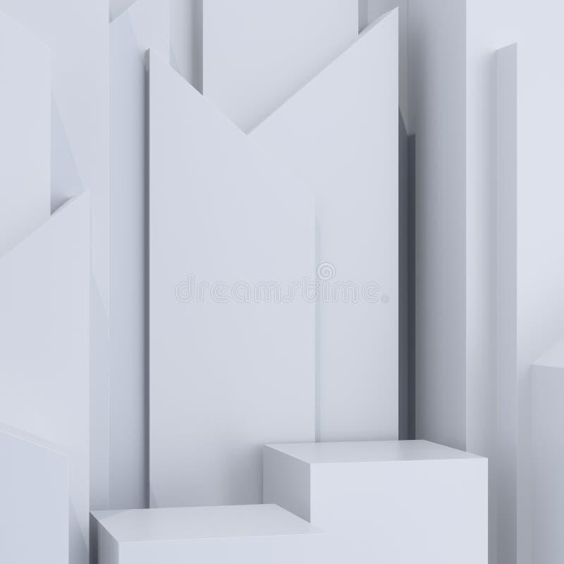 Maquette colorée abstraite moderne sur le contexte léger Plate-forme d'exposition blanc de r?ussite d'isolement par concept d'aff illustration libre de droits