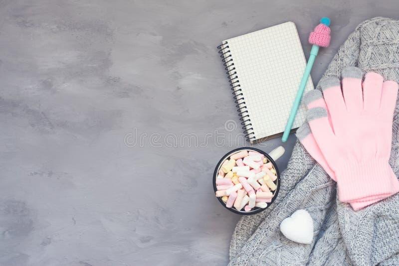 Maquette confortable d'hiver, bannière Bloc-notes de papier ouvert, café avec des guimauves, chandail tricoté, coeur blanc, stylo photographie stock
