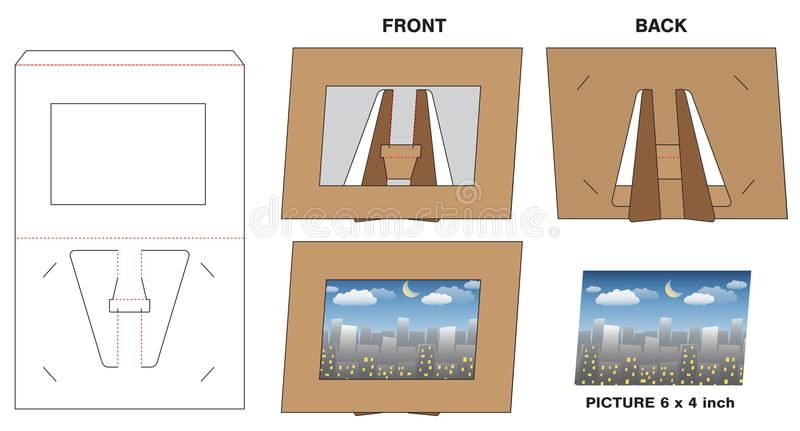 Maquette découpée avec des matrices par support de cadre de papier de photo de photo illustration libre de droits