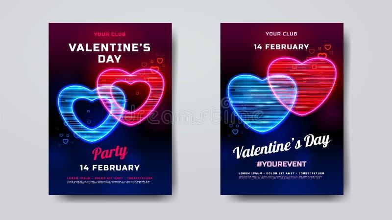 Maquette d'affiche de partie de jour de valentines Bannière de vacances avec le coeur au néon texturisé avec des particules de mo illustration libre de droits