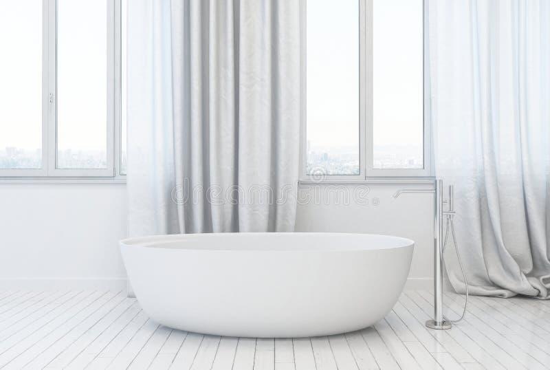 maquette 3d blanche d'une salle de bains moderne élégante illustration libre de droits
