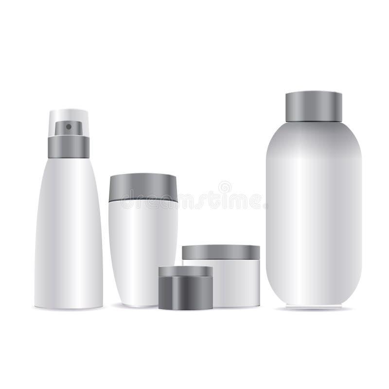 maquette 3d de cosmétique Placez les calibres vides de vecteur des récipients en plastique blancs vides et propres illustration de vecteur