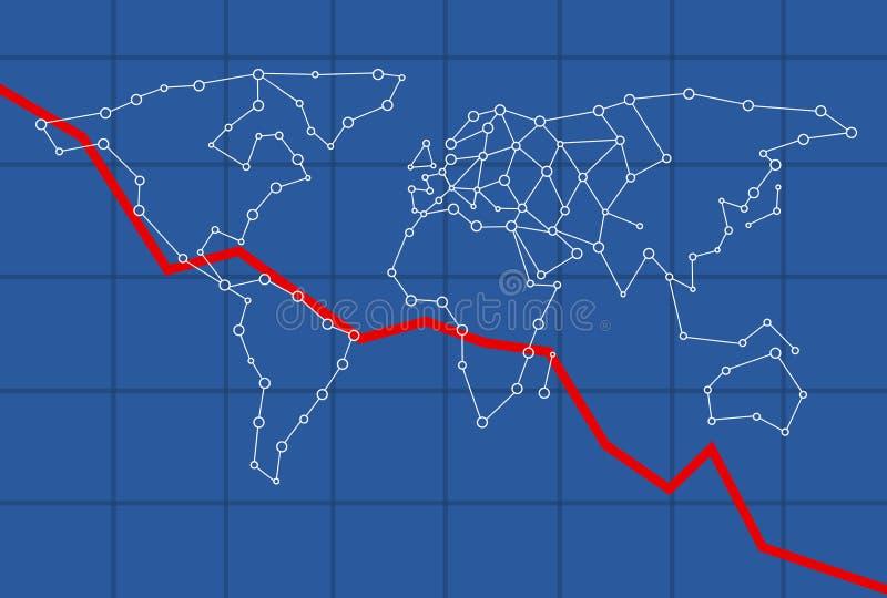 Maquette d'Infograph pour l'économie mondiale descendant image stock
