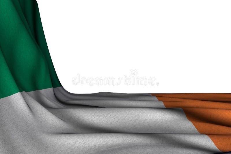 Maquette d'isolement merveilleuse de diagonale accrochante de drapeau de l'Irlande sur le blanc avec l'endroit vide pour votre te illustration libre de droits