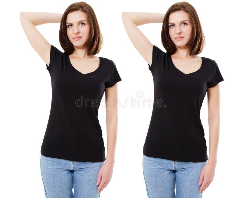 Maquette d'un calibre du T-shirt d'une femme de couleur sur un fond blanc Front View La belle fille la brune dans un noir photographie stock libre de droits