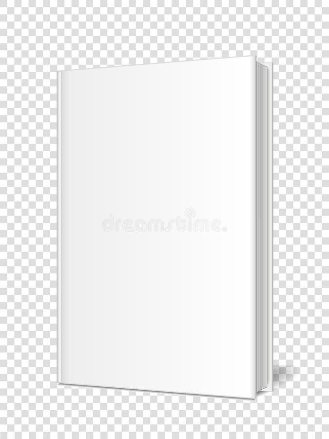 Maquette d'un livre fermé et verticalement debout, carnet, organisateur, magazine sur un fond transparent illustration libre de droits