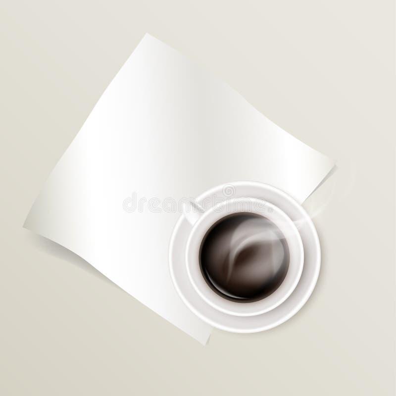 Maquette d'une feuille de papier et de cuire le café à la vapeur chaud dans une tasse en céramique blanche sur une soucoupe ronde illustration libre de droits