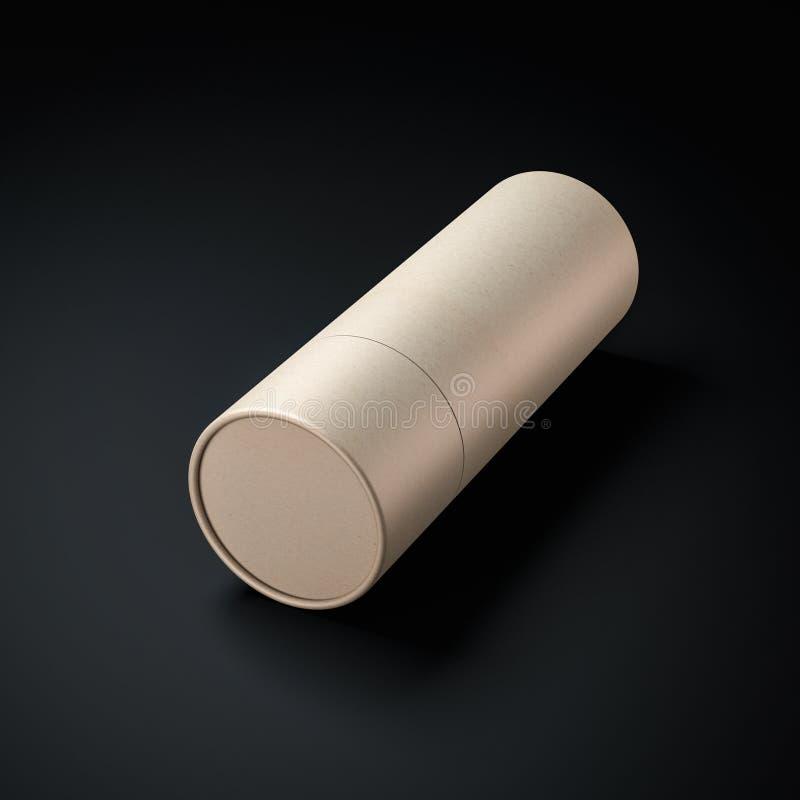 Maquette de boîte en fer blanc de tube de papier de Papier d'emballage Brown sur le fond noir illustration stock