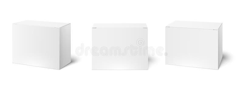 Maquette de bo?tier blanc Boîtes de empaquetage vides, vue de perspective de cube et vecteur des maquettes 3d de paquet de produi illustration libre de droits