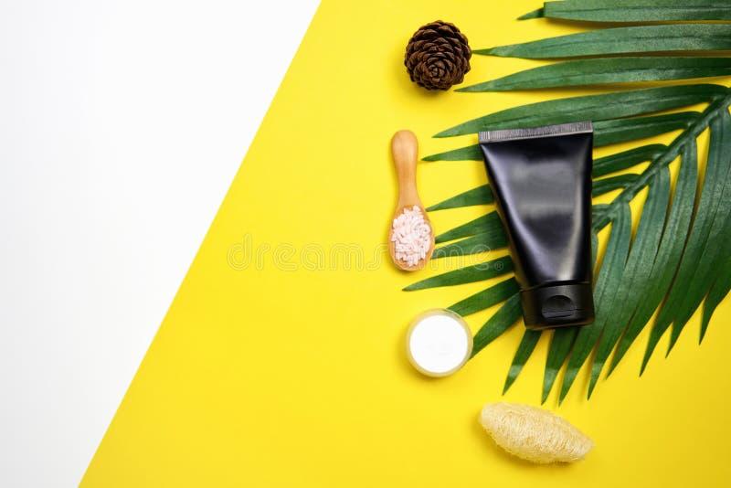Maquette de bouteille crème cosmétique, de paquet vide de label et d'ingrédients sur un fond blanc et jaune photo libre de droits