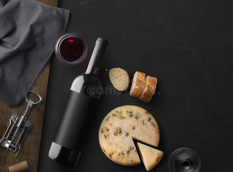 Maquette de bouteille de vin Vue supérieure photographie stock libre de droits