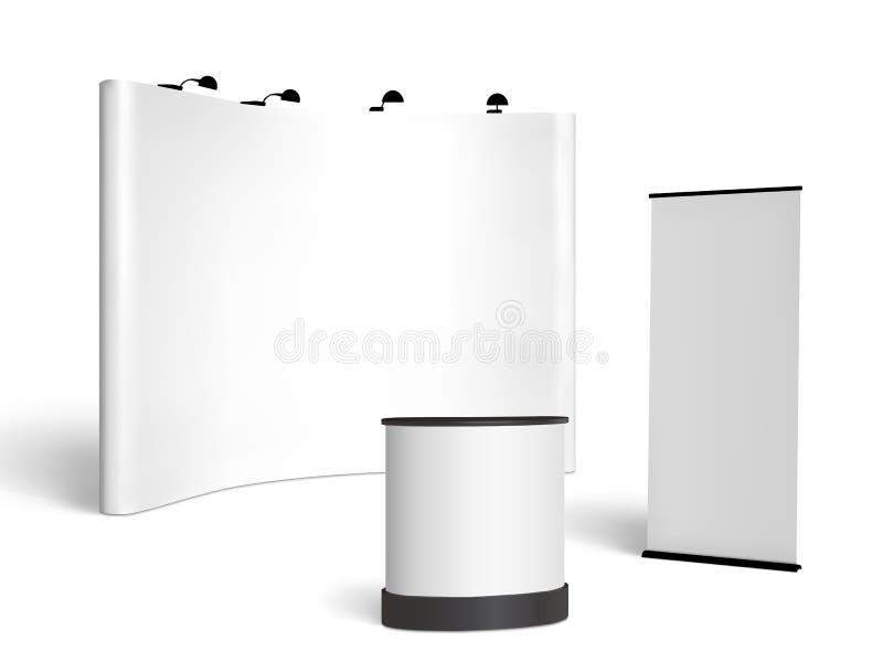 Maquette de cabine de salon commercial Vecteur sur le blanc illustration stock