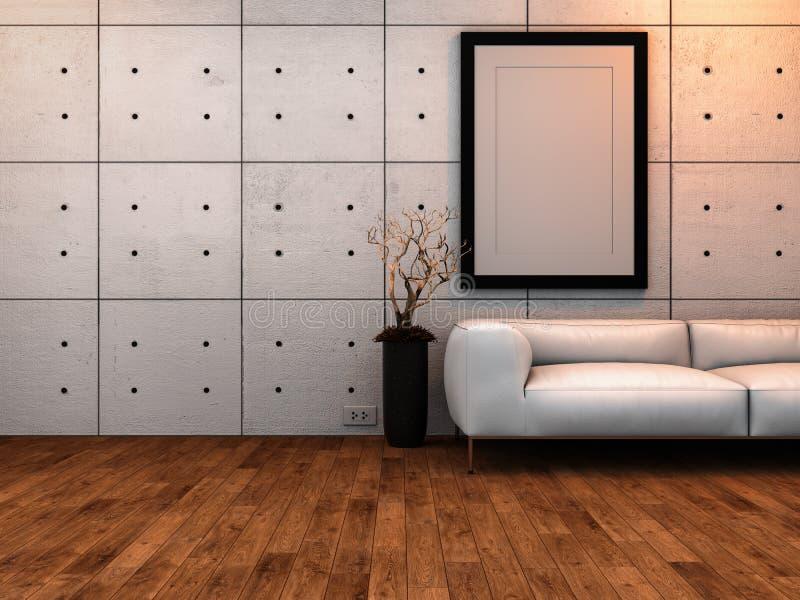 Maquette de cadre de tableau dans l'intérieur de la chambre 3 illustration de vecteur